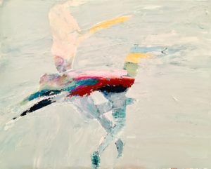 "30""x18"" acrylic and mixed media on canvas"